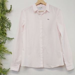 Lacoste Button Front Shirt Pink Striped 40/L